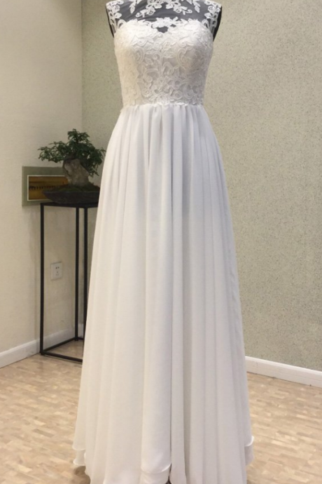 Elegant High Neck Lace Top and Chiffon Skirt Long Party Dresses, White Formal Dresses, Evening Gowns , Simple Wedding Dresses