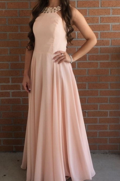 Pink Chiffon Halter Long A-line Party Dresses, Pink Prom Dresses, Prom Dresses