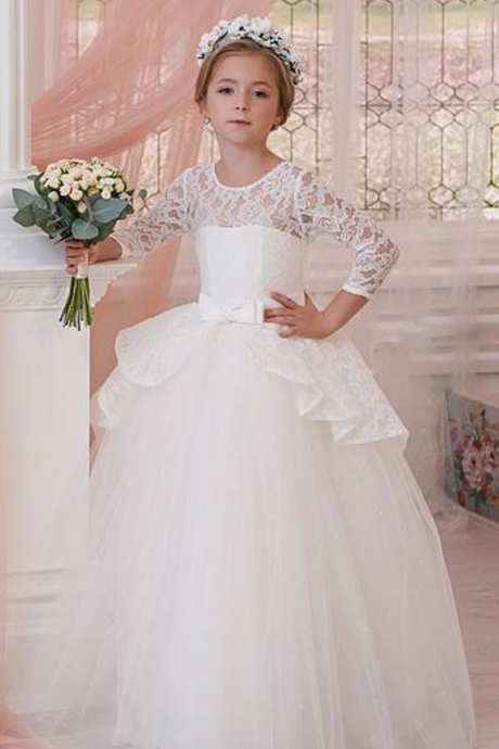 Flower girl dress,luxury flower girl dress,long sleeves flower girl dress,girls party dresses, little girl dress, princess flower girl dress, ball gown flower girl dress, girls communion dress, junior bridesmaid dress,girls wedding party dress,girls pageant dress,