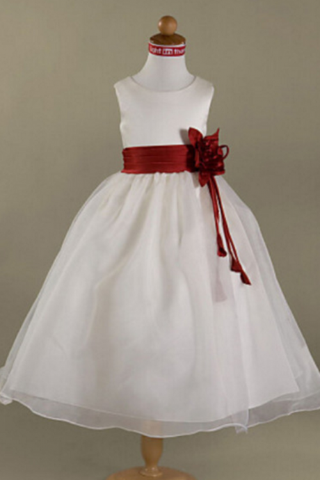 Flower Girl Dresses Holy First Communion Dress with Pleated Cummerband Flower Girl Dress,