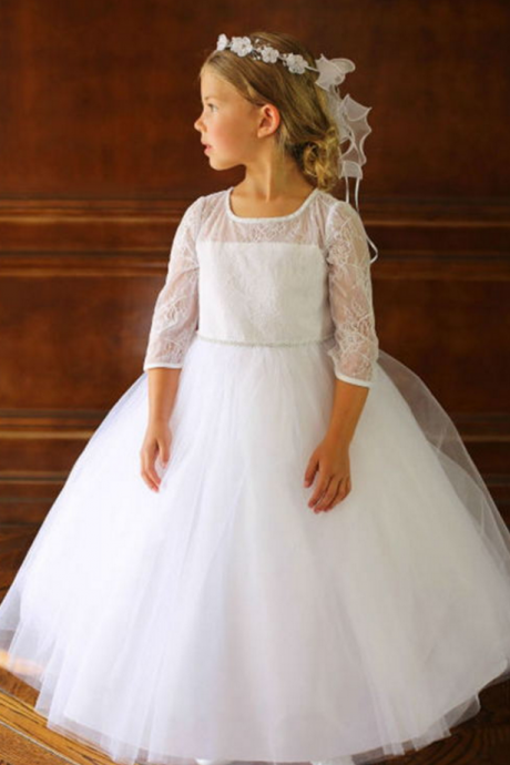 Long Sleeve Lace Sweet Flower Girl Dress For Weddings Vintage Ball Gown Pageant Birthday Dresses for Girls First Communion Dresses Size
