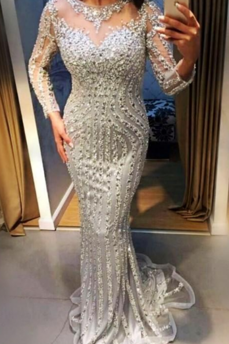 Major Beading Mermaid Prom Dresses Sheer Jewel Neck Silver Crystals Beaded Long Sleeves Evening Gowns Mermaid Shinning Girls Pageant Dress,