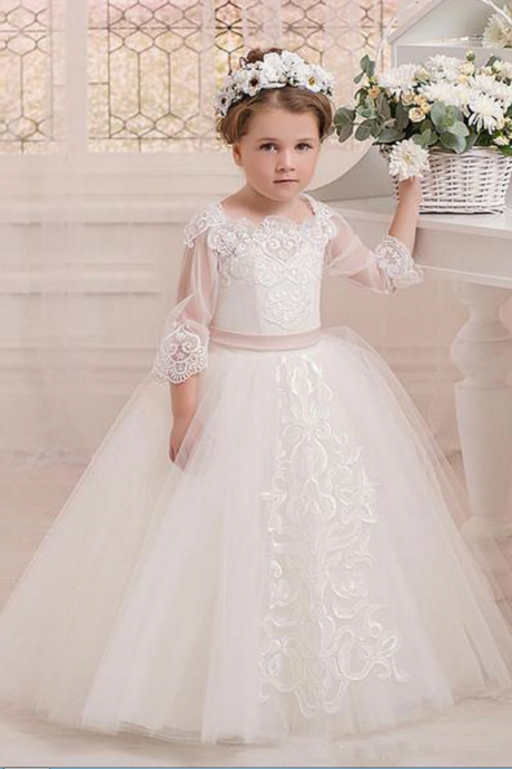 Vintage Ball Gown Flower Girls Dresses For Weddings Half Sleeves Lace Appliques Kids Formal Girl's Pageant Gowns Custom Made,