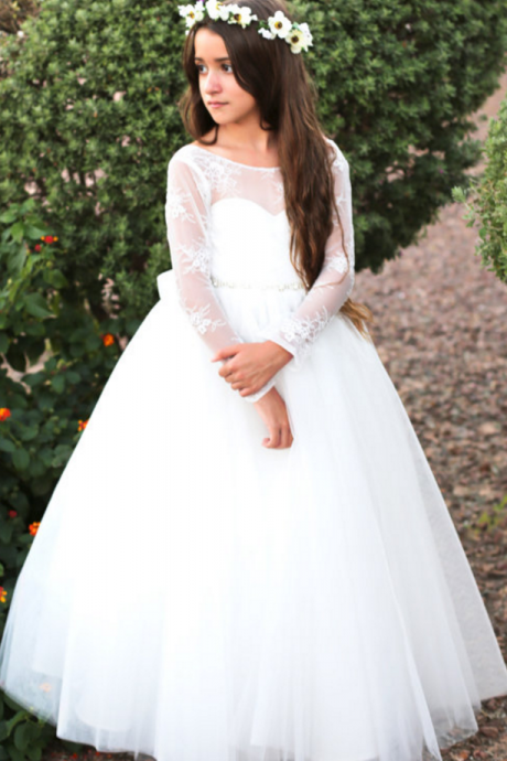Long sleeve lace tulle flower girl/wedding dress with bow and rhinestone belt ,