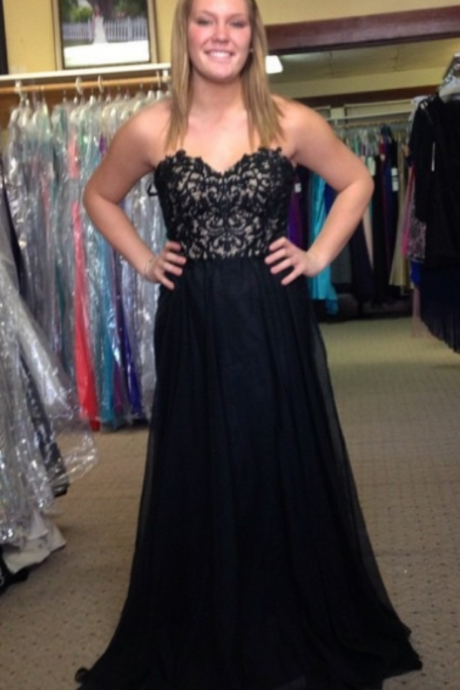 Black Sweetheart Lace A-line Chiffon Prom Dresses