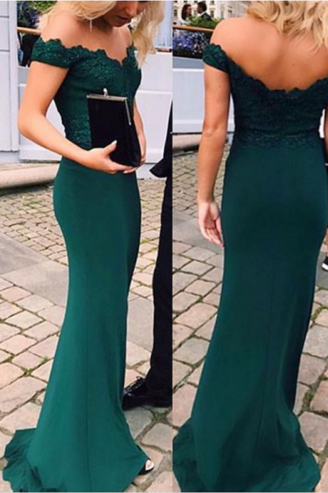 Forest Green Lace Off-The-Shoulder Floor Length Trumpet Bridesmaid Dress, Evening Dress
