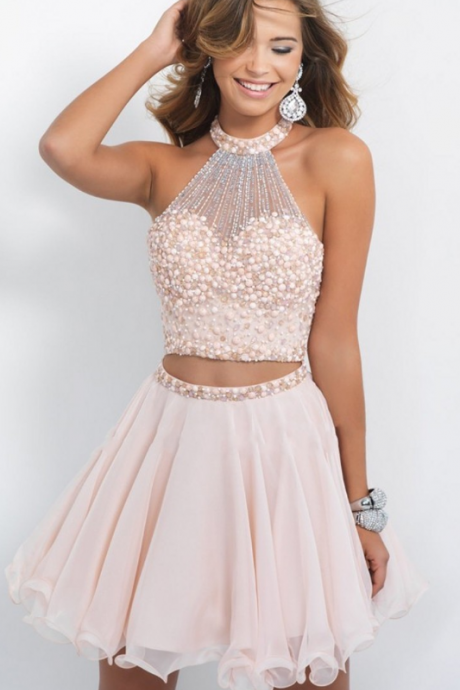 Short Homecoming Dresses, Pink Graduation Dresses, Fashion Cocktail Dresses, Hand Made Beading Prom Dresses, Mini Prom Dresses