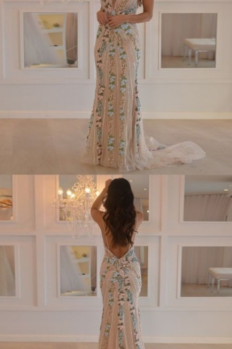 Gorgeous New Arrival Mermaid Spaghetti Straps Floor Length Prom Dresses,Sexy Open Back Prom Dress