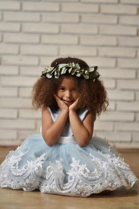 Blue Flower Girl Dress, Baby Blue Birthday Gir Dresses with Embroidered Lace Trim
