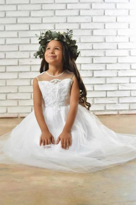 White Flower Girl Dress made with tulle, Satin and embroidered lace. White Flower girl and Baptism Dresses