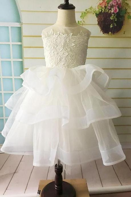 Lace Flower Girl Dress, Tulle Layered Flower Girl Dress, First Communion Dress, Birthday Girl Dress, Tutu Flower Girl Dress