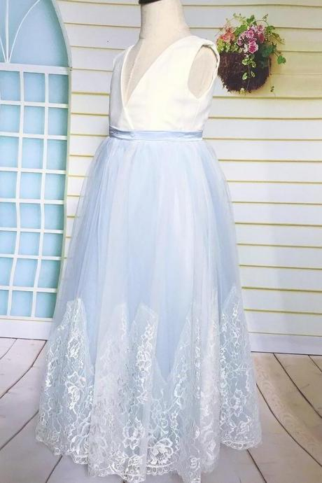 Light Blue Lace Tulle Flower Girl Dress, Lace Flower Girl Dress with V Neck Floor Length for First Communion Wedding or Birthday