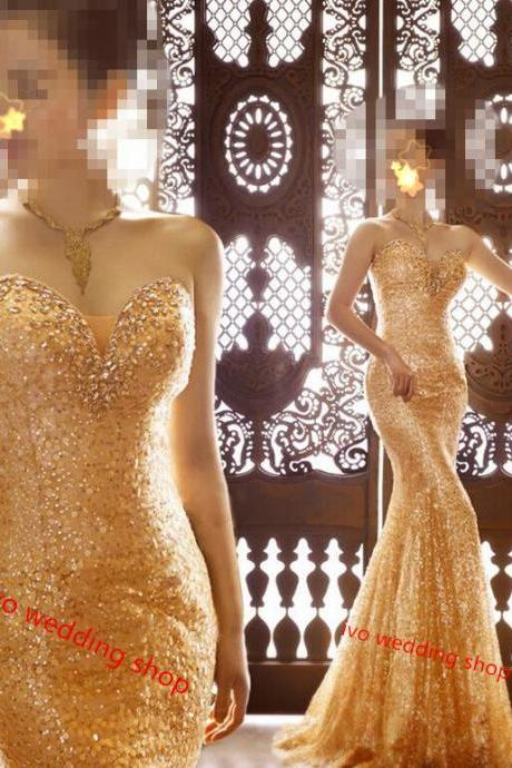 Gold Mermaid Evening Dresses 2015 New Sweetheart Sexy Party Dresses With Crystals Sequined Long Prom Gowns