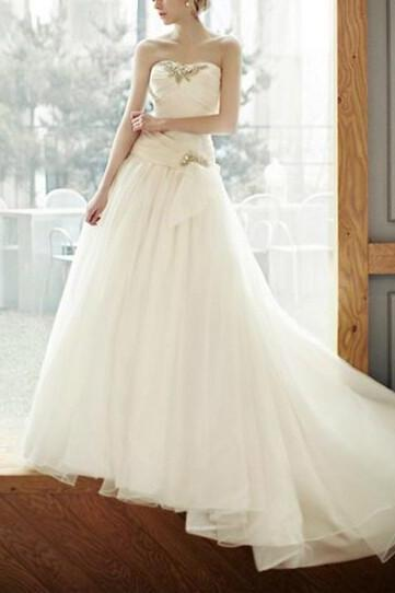 White Sweetheart Tulle Wedding Dress Bridal Gown Strapless Wedding Dresses US Size 0 2 4 6 8 10 12 14