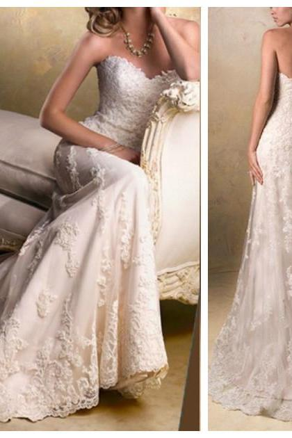 Lace Wedding Dresses/ Mermaid Bridal Dress/ Wedding Gowns/ Lace-Up Prom Dress/ Wedding Dresses