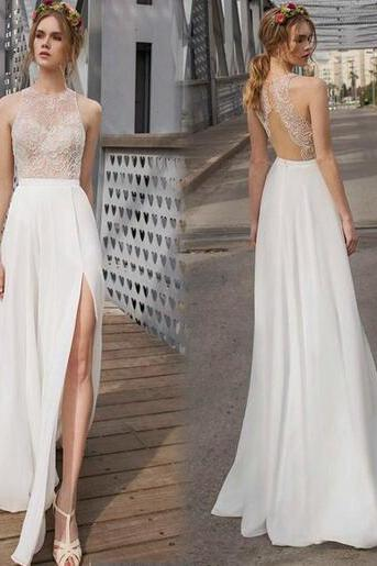 White Prom Dresses, Backless Prom Dresses, Evening Dresses, Party Dresses, Side Split Prom Dresses, Chiffon Prom Dresses, Long Dresses For Women, Sexy Prom Dresses, Floor-Length Prom Dresses, Custom Dresses