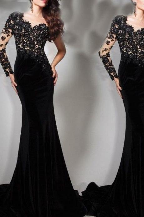Black One Sleeve Bridal Party Pageant Formal Evening Ball Dress Wedding Gown