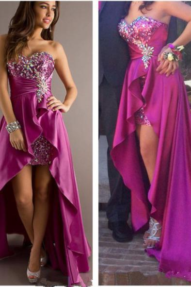 Fashion Colorful Rhinestones Beaded Prom Dresses Sweetheart Neck Ruched A-Line Sleeveless High Low Strength Satin Party Gowns