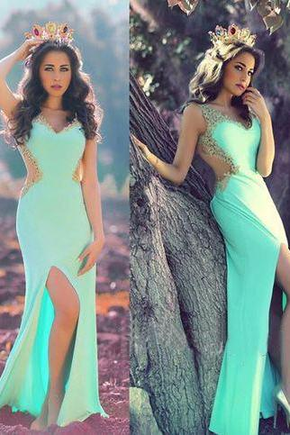 Backless Prom Dresses,Blue Prom Dress,Backless Prom Gown,Open Back Prom Dresses,Slit Evening Gowns,2016 Open Backs Party Dress,Beaded Formal GownTeens Girl Dresses