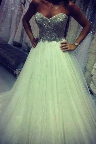 White Prom Dress,Ball Gown Prom Dress,Princess Prom Gown,Beaded Prom Dresses,Sexy Evening Gowns,2016 New Fashion Evening Gown,Sexy Graduation Dress For Teens