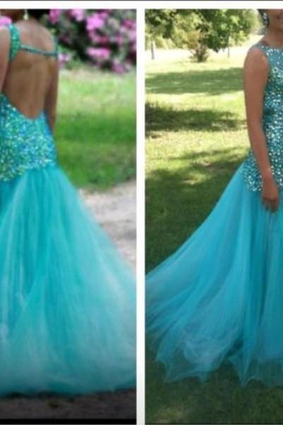 Backless Prom Dresses,Open Back Prom Dress,Crystals Prom Gown,Sparkly Prom Gowns,Elegant Evening Dress,Sparkle Evening Gowns,Mermaid Evening Gowns,Sexy Prom Dress,Blue Party Dress For Teens
