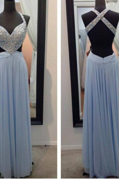 Blue Prom Dresses,Sparkly Prom Dress,Straps Prom Gown,Backless Prom Dresses,A Line Evening Gowns,2016 Evening Gown,Beaded Formal Dress,Open Back Evening Gown For Teen