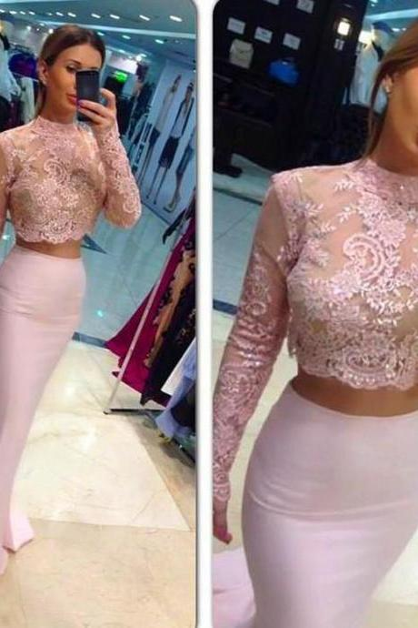 Two-Piece Mermaid Prom Dresses High Neck Long Sleeves Lace Pink Evening Gowns For Teens