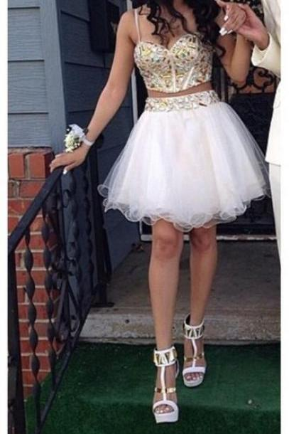 Two-pieces Beading Homecoming Dresses,Sweetheart Graduation Dresses,Homecoming Dress,Short/Mini Tulle Homecoming Dress
