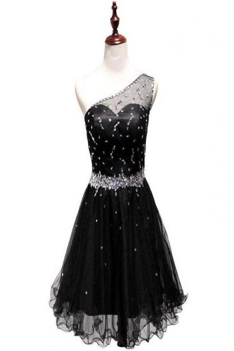 Short Homecoming Dress,One Off Shoulder Homecoming Dress,Black Homecoming Dress,Sexy Prom Dress , Homecoming Dresses,Cocktail Dresses,Graduation Dress