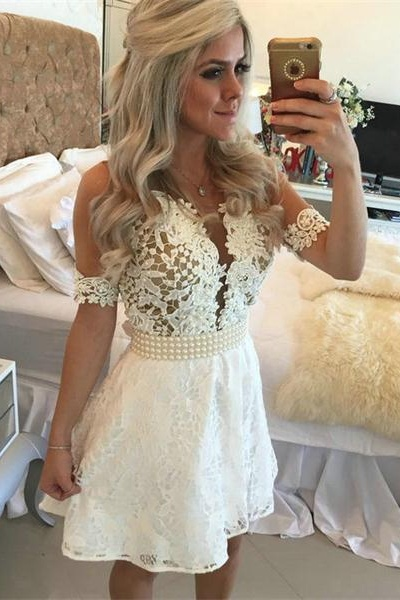 Homecoming Dresses, ivory lace homecoming dress, Short sleeve homecoming dress, short homecoming dresses, 2016 homecoming dress, short prom dresses, homecoming dress