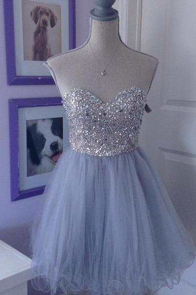 Homecoming Dresses,Grey Tulle homecoming dress, Beaded homecoming dress, short homecoming dresses, 2016 homecoming dress, short prom dresses, homecoming dresses