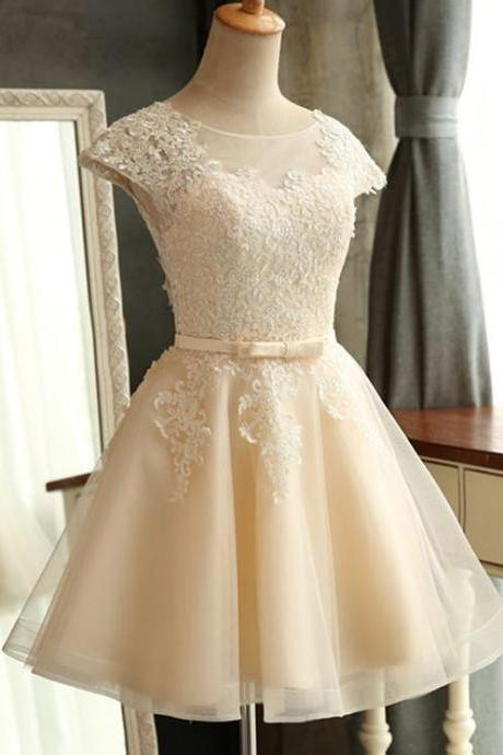 Homecoming Dresses,Junior Homecoming Dresses,Champagne lace homecoming dress, See through homecoming dress, short homecoming dresses, 2016 homecoming dress, short prom dresses, homecoming dress