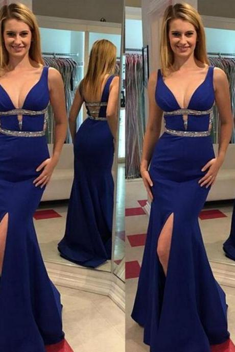 Royal Blue V-neck Prom Dresses,Open Back Evening Gowns,Pretty Front Split Prom Gowns,Beautiful Party Gowns