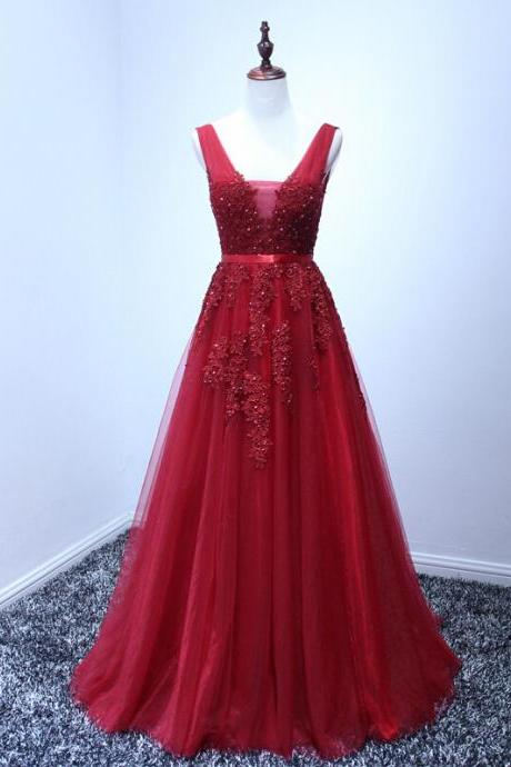 Red A-line Long Prom Dresses,Lace V-neck Prom Dresses,Charming Party Ptom Dresses