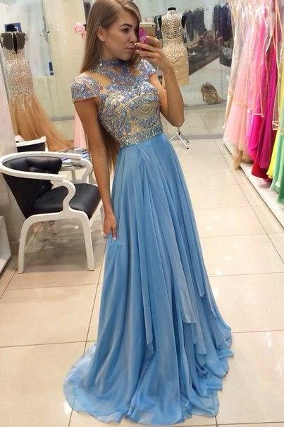 Sparkly Long Chiffon Prom Dresses,Light Sky Blue Beading Prom Dress For Teens,Charming Elegant Chiffon Prom Gowns