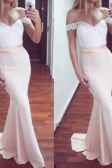 Pretty Off Shoulder Long Mermaid Prom Dresses,Pearl Pink Lace Prom Dress,Elegant Prom Gowns