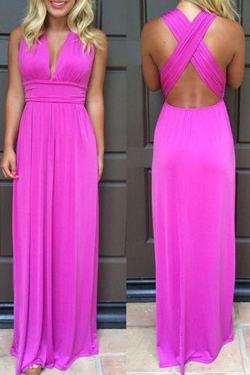 Beautiful Hot Pink Long Chiffon Prom Dresses,Handmade Sparkly Prom Dress,Pretty Prom Gowns For Women