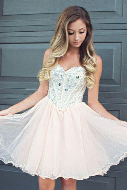 Sparkly Homecoming Dresses,Beaded Homecoming Dresses,A-line Cocktail Dresses,Cute Pink Graduation Dresses