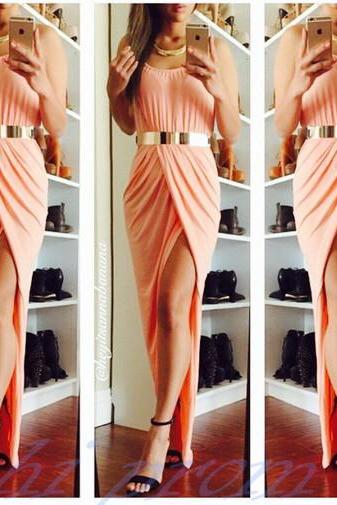 Sexy Front Split Blush Pink Prom Dresses,Girly Chiffon Long Dress For Teens,Prom Gowns,Evening Gowns