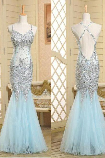 Real Beautiful Backless Long Prom Dresses,Sequin Shiny Mermaid Charming Prom Dress,Evening Gowns