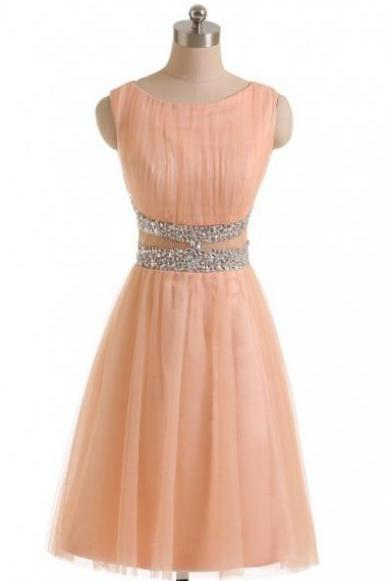 Simple A-line Jewel Peach Tulle Homecoming Dress with Beads