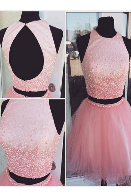 Homecoming Dresses,Pink Beading Tulle Short Prom Dresses,Homecoming Dresses,Open Back Two Pieces Homecming Dress,Cocktail Dresses