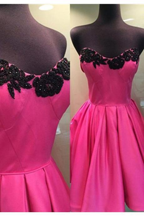 Homecoming Dresses,Hot Pink Skirt And Black Lace Simple Homecoming Dresses,Sweetheart Princess Homecoming Dress,Cute Dresses Party Dresses