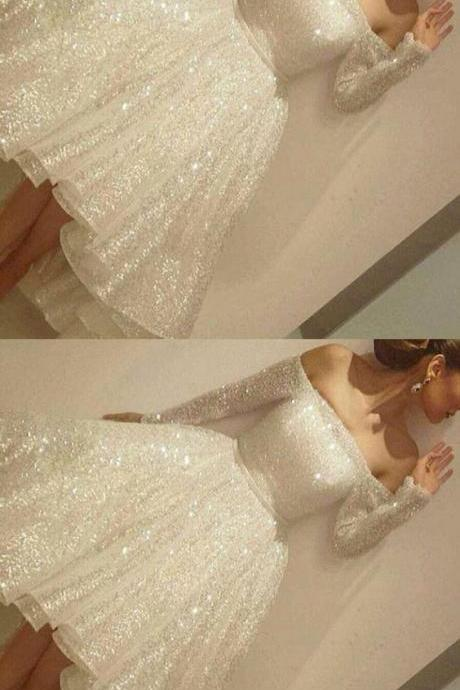 Evening Dresses, Prom Dresses,White Homecoming Dress,White Homecoming Dresses,Sequin Homecoming Gowns,Party Dress,High Low Prom Gown,Cocktails Dress,Homecoming Dresses
