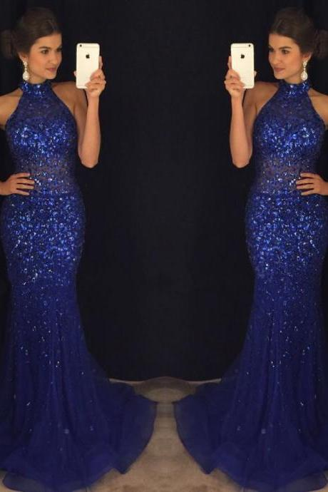 Evening Dresses, Prom Dresses,Party Dresses,New Arrival Prom Dress,Modest Prom Dress,royal blue dresses,crystal dress,mermaid prom dresses 2017