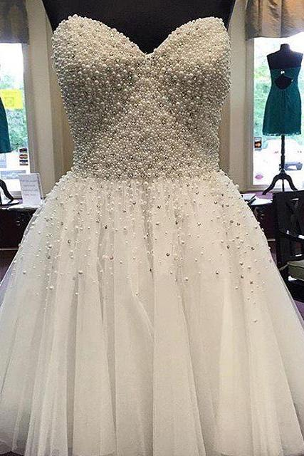 Pearl Beaded White Homecoming Dress, Short Prom Gowns, 2017 Cocktail Party Dress,Homecoming Dresses