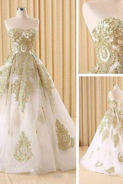 Evening Dresses, Prom Dresses,Party Dresses,Elegant White and Gold Lace Prom Dresses,Ball Gown Evening Dresses,A-Line Evening Dresses,Sweetheart Long Prom Dresses,Evening Dresses