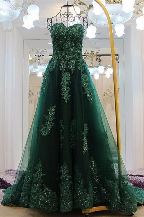 Forest Green Lace Appliqués Sweetheart Floor Length Tulle A-Line Formal Dress Featuring Lace-Up Back, Prom Dress