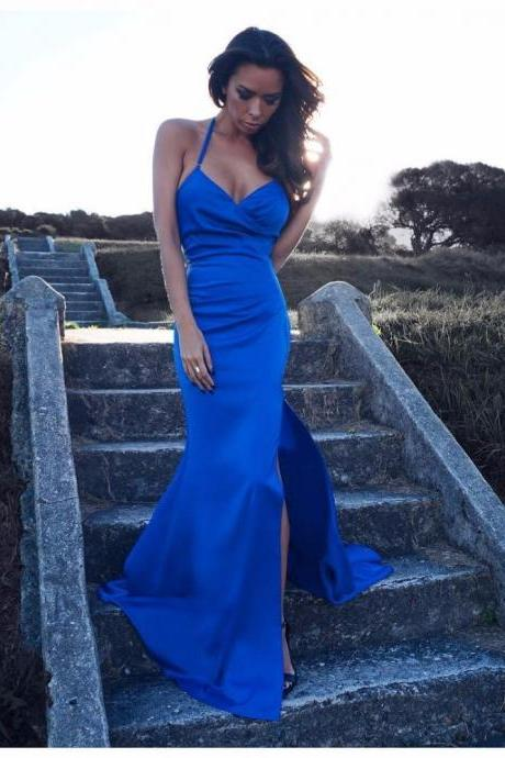 Prom Dress,Sexy Elegant Prom Dresses, New Royal Blue Prom Dress V Neck with Spaghetti Strap Side Split Sexy Long Mermaid Prom Party Gown Women Dress, High Quality Bridal Dresses,Wedding Guest Prom Gowns, Formal Occasion Dresses,Formal Dress