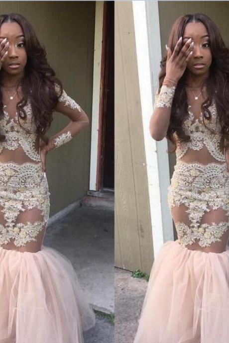 Scoop Long Sleeve Lace Prom Dresses, See Through Mermaid Prom Dresses, 2017 Prom Dresses, Popular prom dresses, Prom Dresses